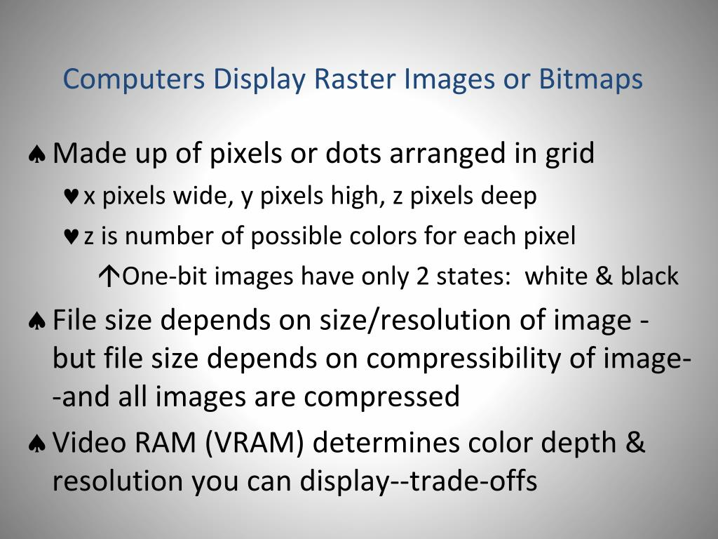Computers Display Raster Images or Bitmaps