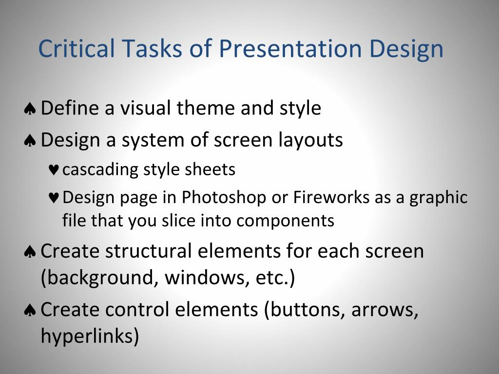 Critical Tasks of Presentation Design