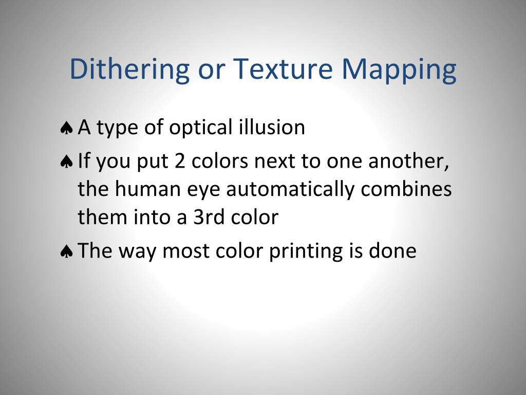 Dithering or Texture Mapping