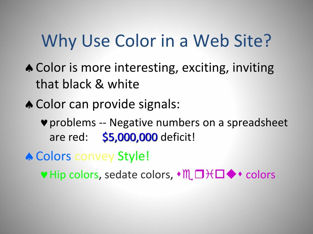Why Use Color in a Web Site?