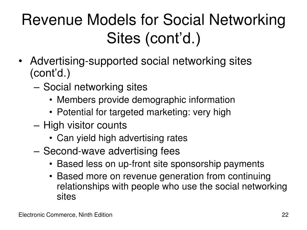 Revenue Models for Social Networking Sites (cont'd.)