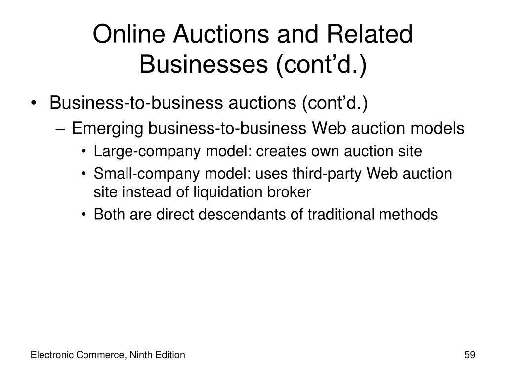 Business-to-business auctions (cont'd.)