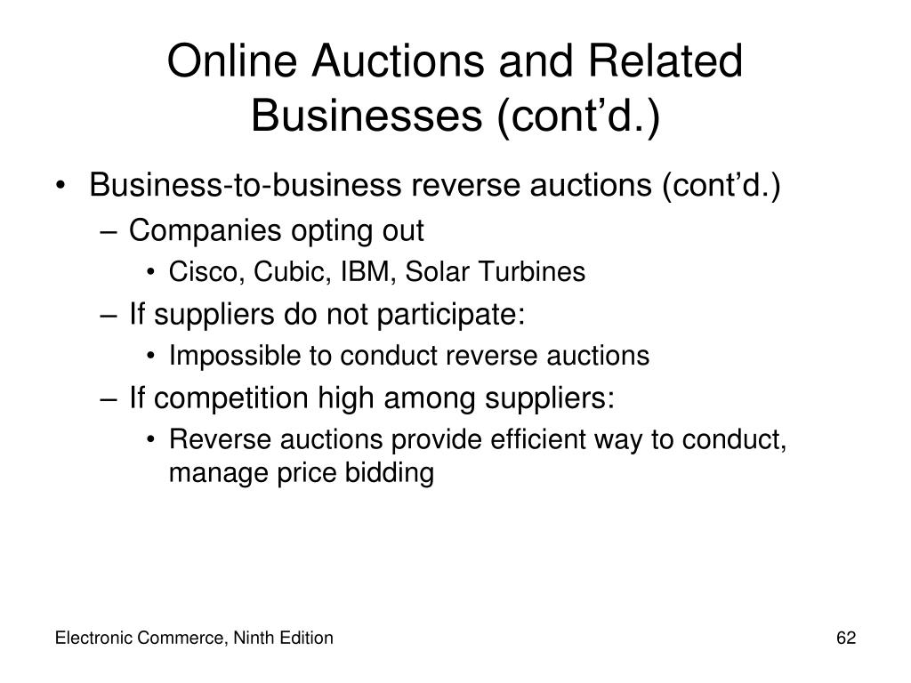 Business-to-business reverse auctions (cont'd.)