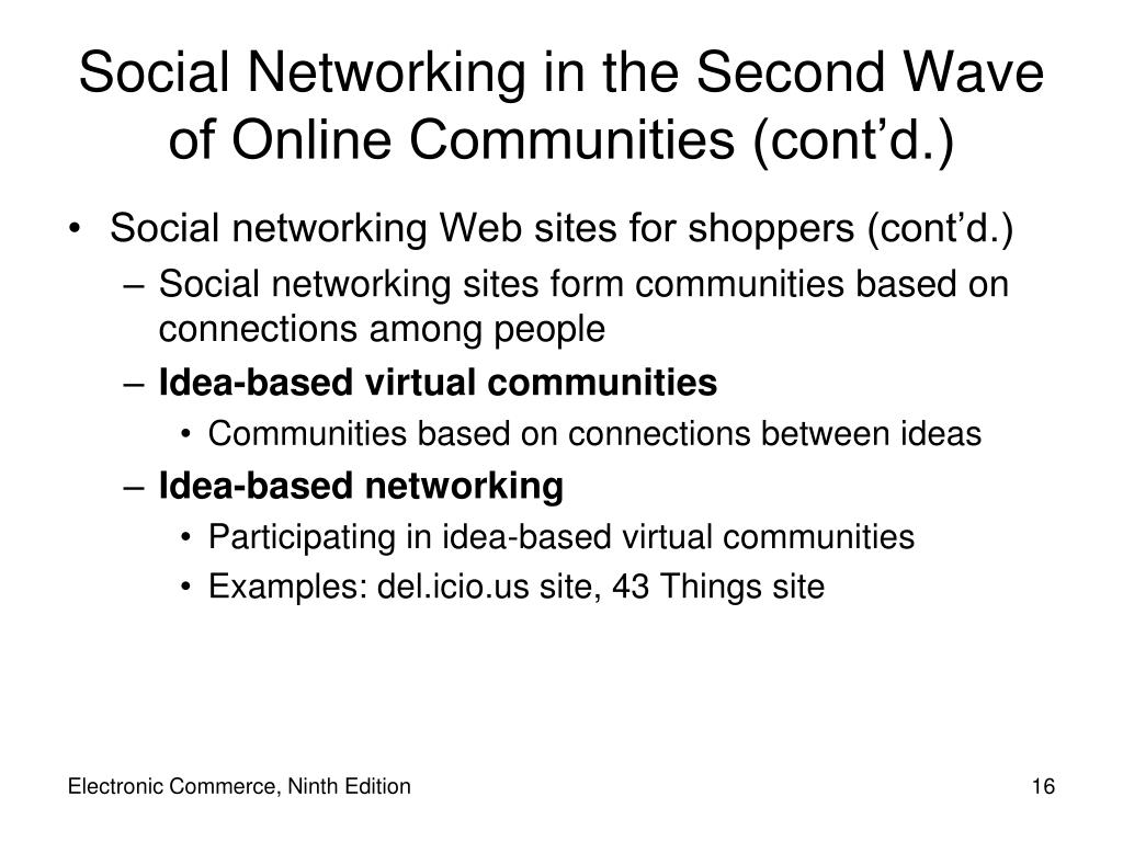 Social Networking in the Second Wave of Online Communities (cont'd.)