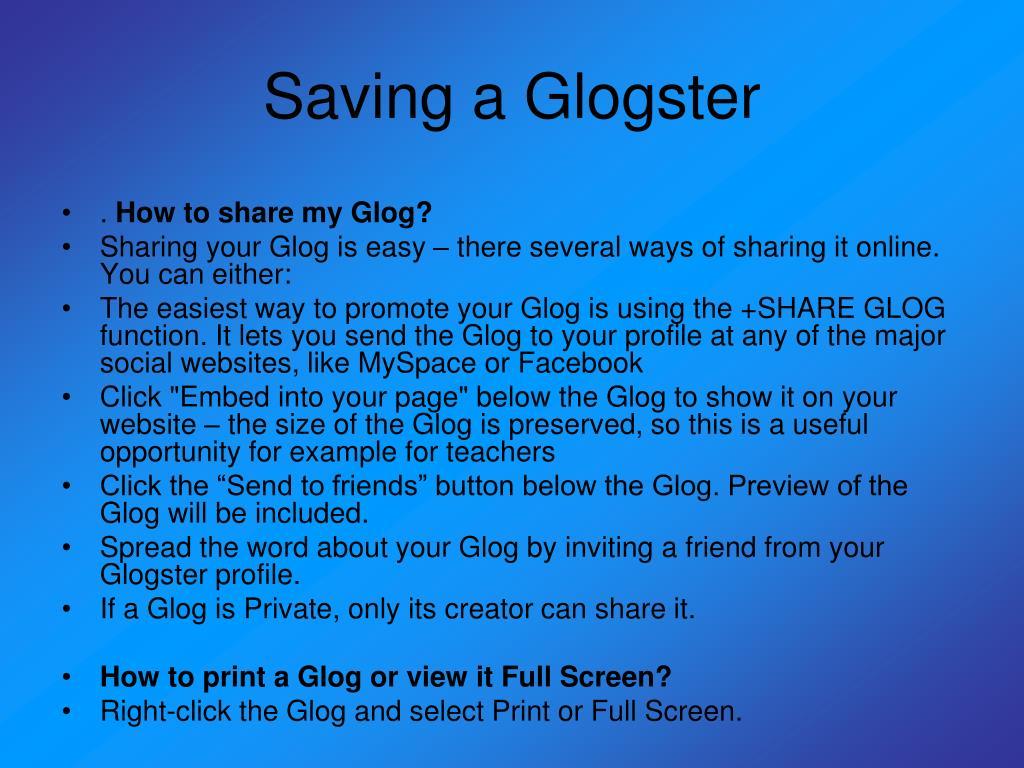 Saving a Glogster