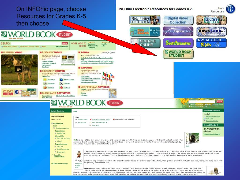 On INFOhio page, choose Resources for Grades K-5, then choose