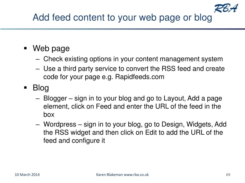 Add feed content to your web page or blog