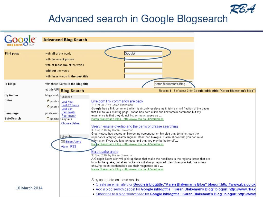 Advanced search in Google Blogsearch