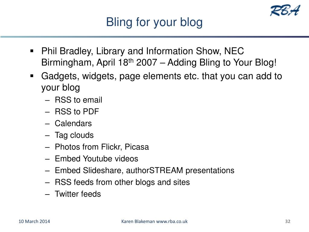 Bling for your blog