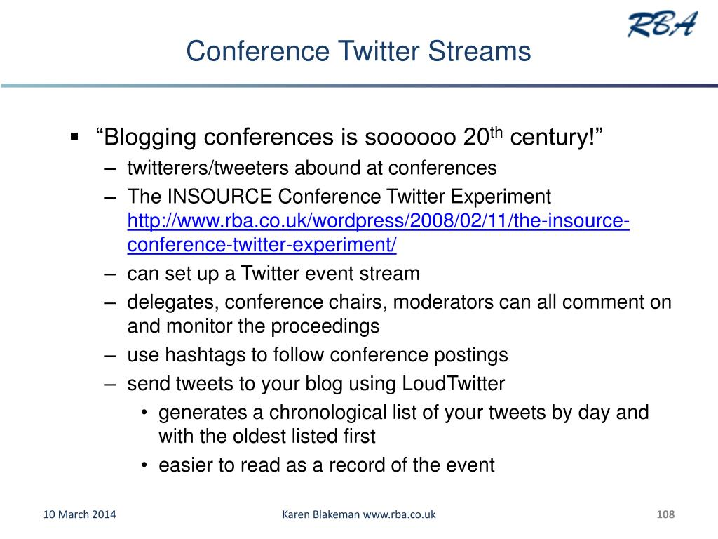 Conference Twitter Streams