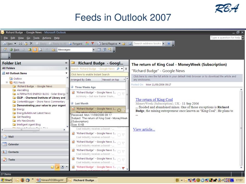 Feeds in Outlook 2007