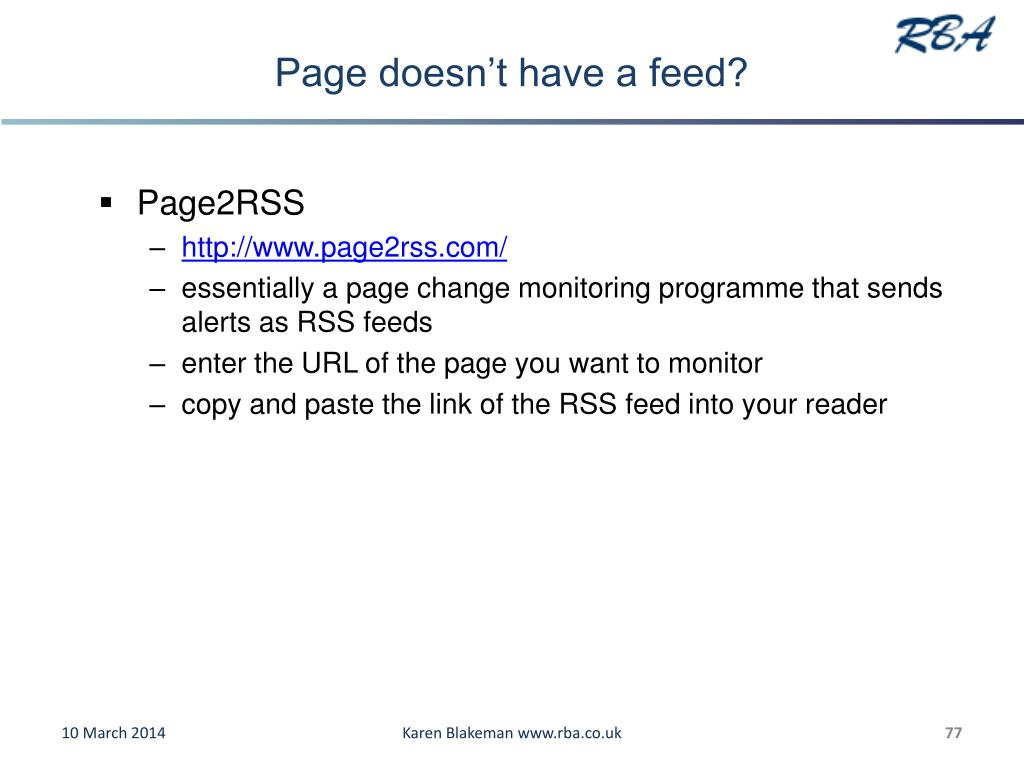 Page doesn't have a feed?