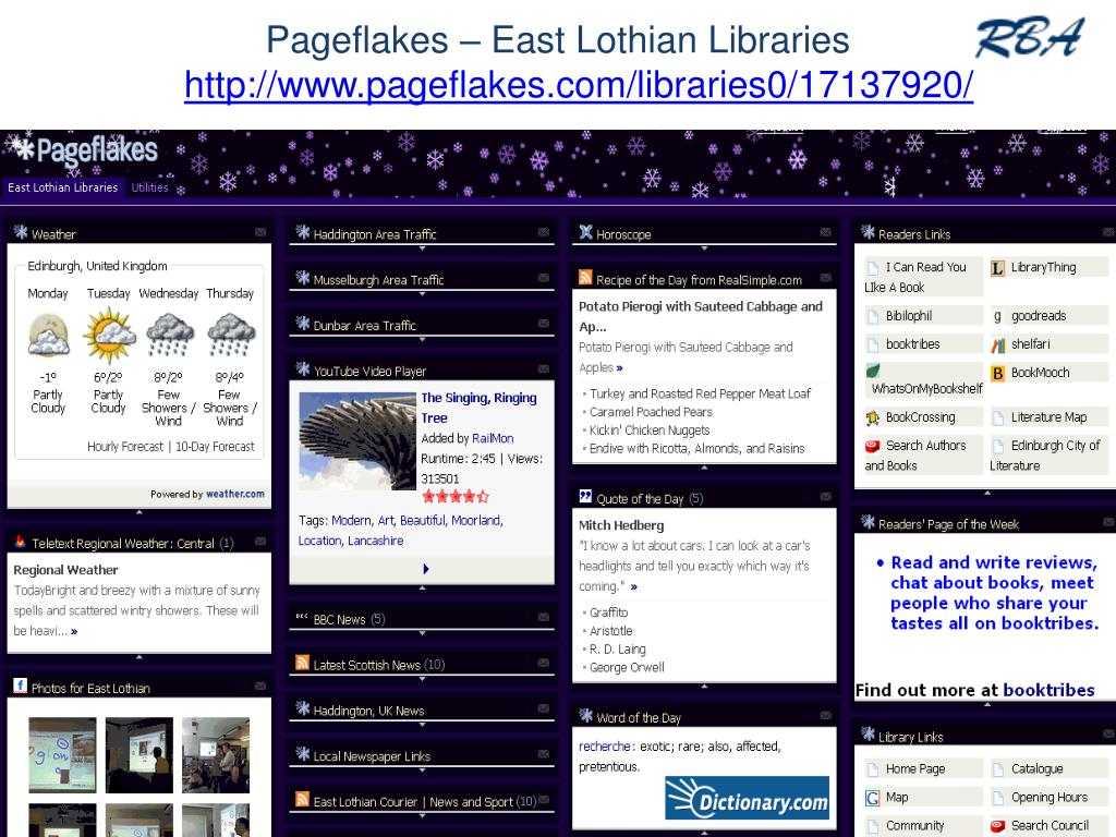 Pageflakes – East Lothian Libraries