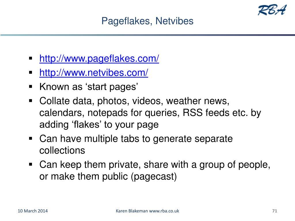 Pageflakes, Netvibes