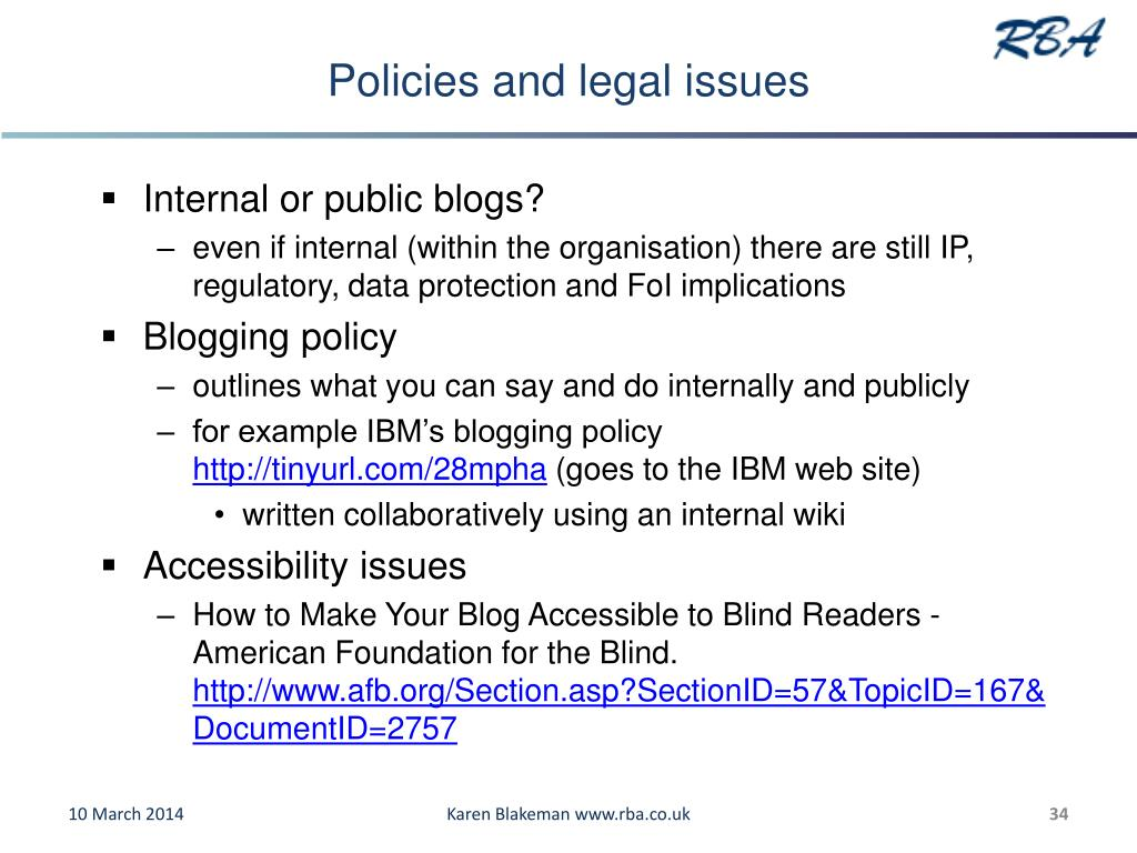 Policies and legal issues