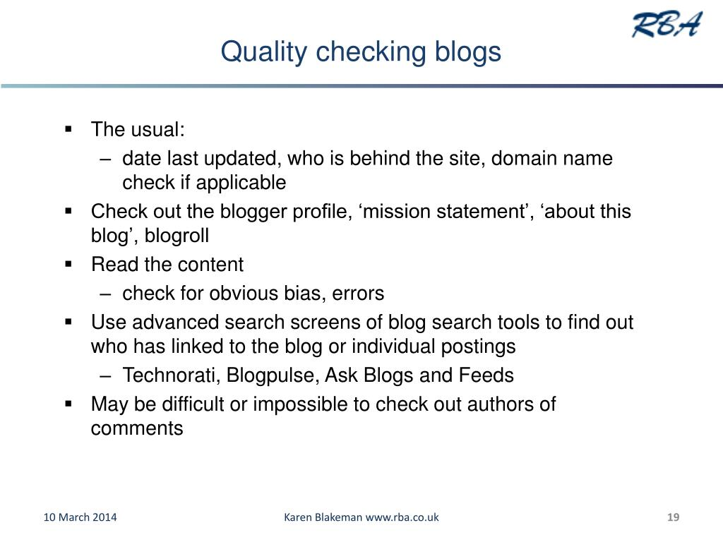 Quality checking blogs
