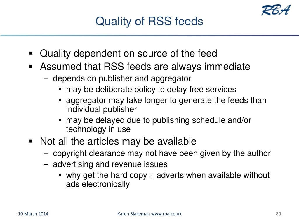 Quality of RSS feeds