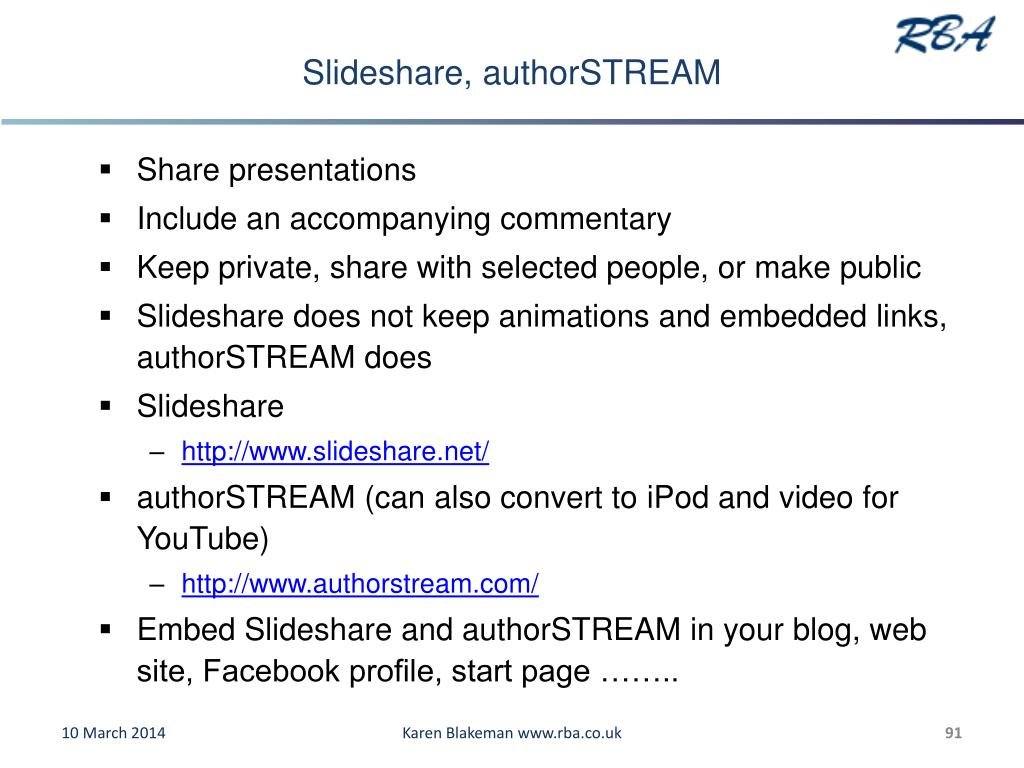 Slideshare, authorSTREAM