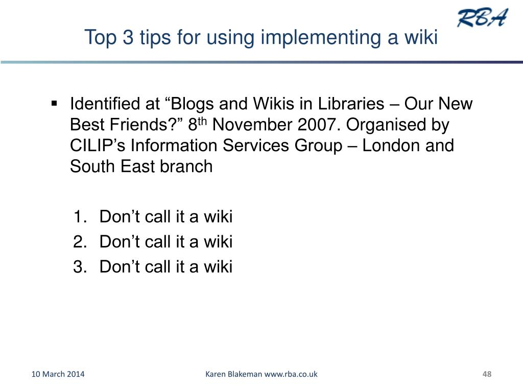 Top 3 tips for using implementing a wiki