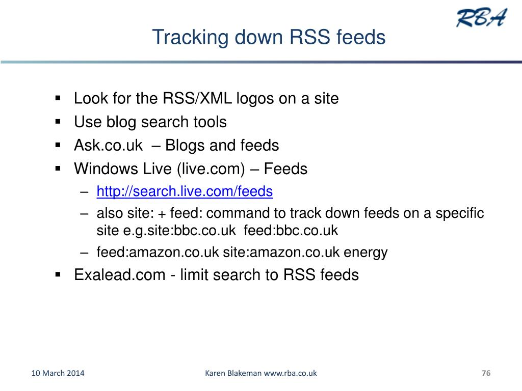 Tracking down RSS feeds