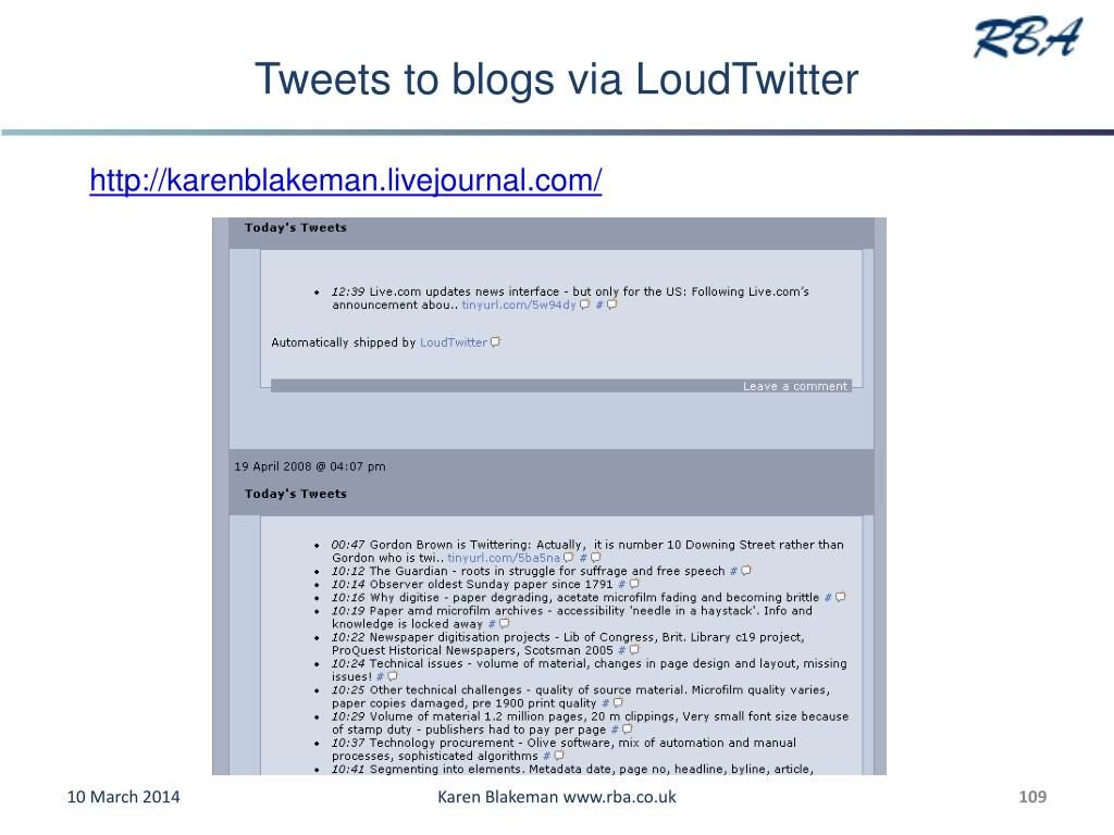 Tweets to blogs via LoudTwitter