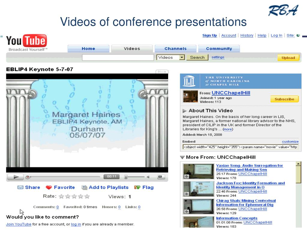 Videos of conference presentations