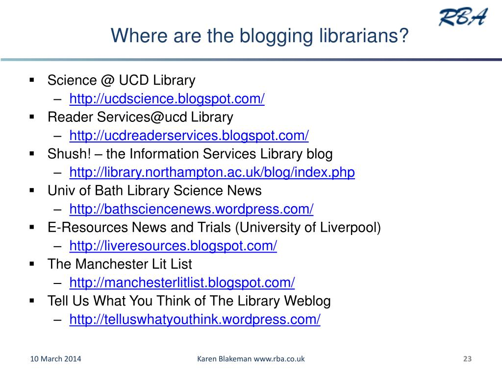 Where are the blogging librarians?