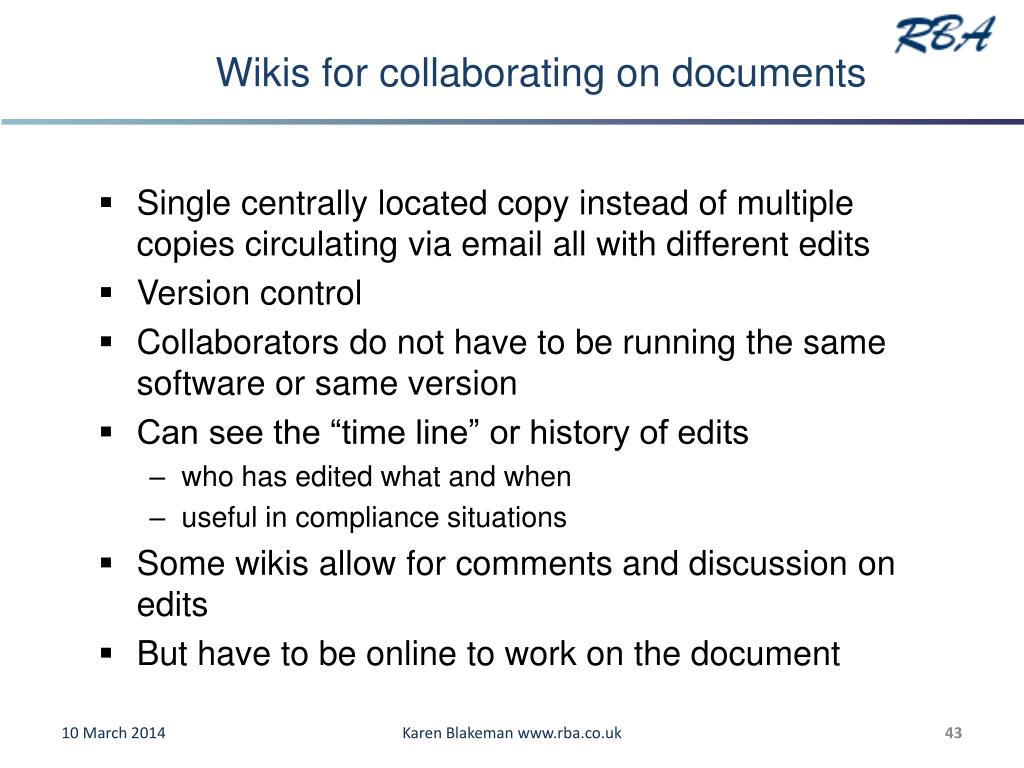 Wikis for collaborating on documents
