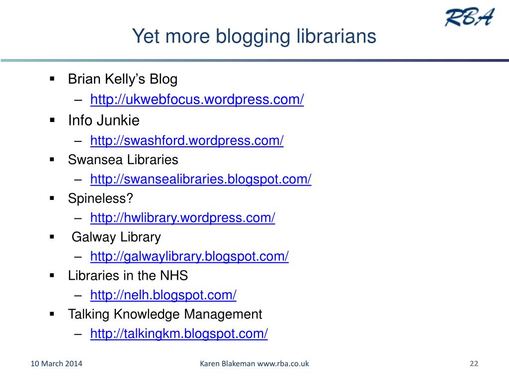 Yet more blogging librarians