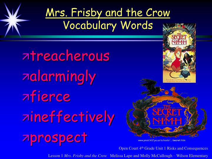 Mrs frisby and the crow vocabulary words