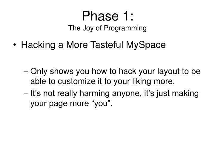 Phase 1 the joy of programming