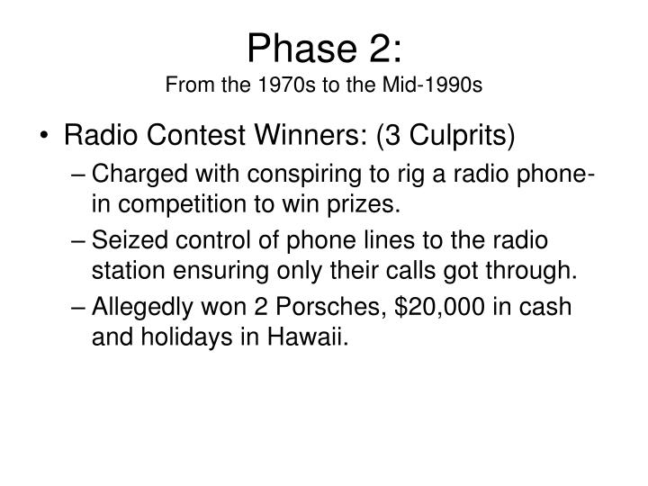 Phase 2 from the 1970s to the mid 1990s