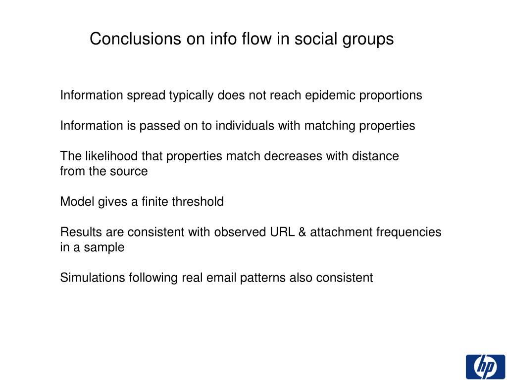 Conclusions on info flow in social groups