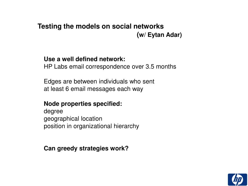 Testing the models on social networks