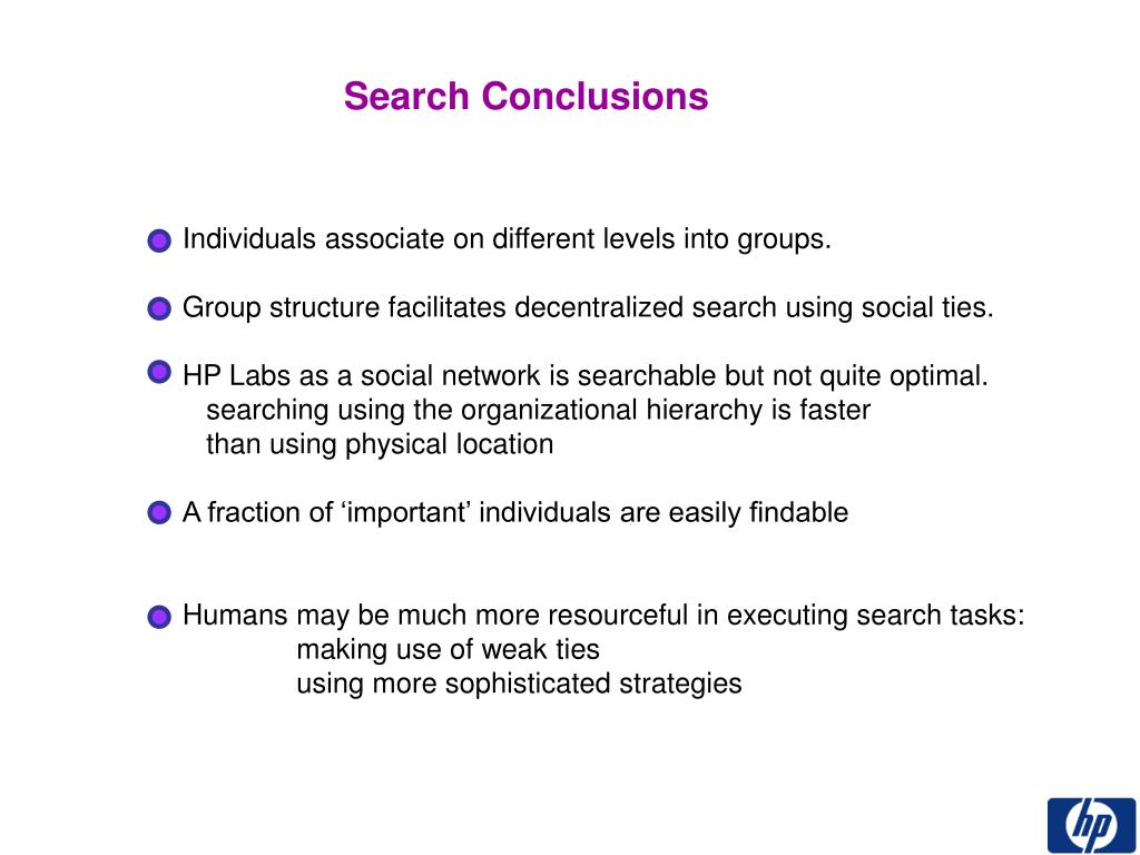 Search Conclusions