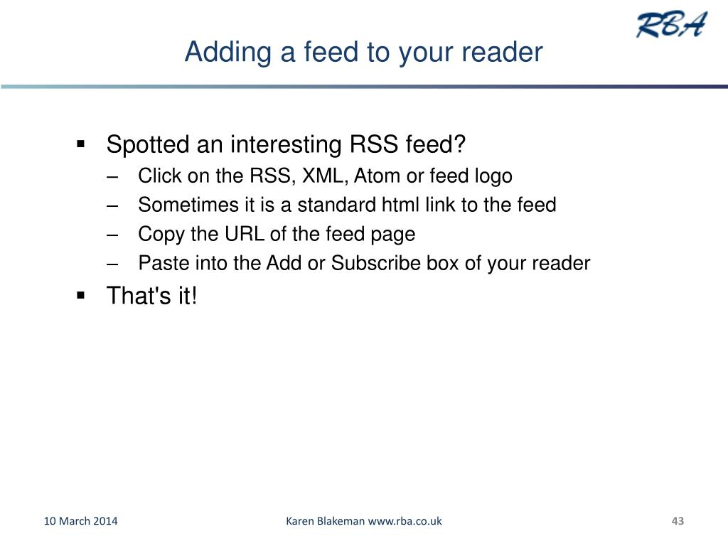 Adding a feed to your reader