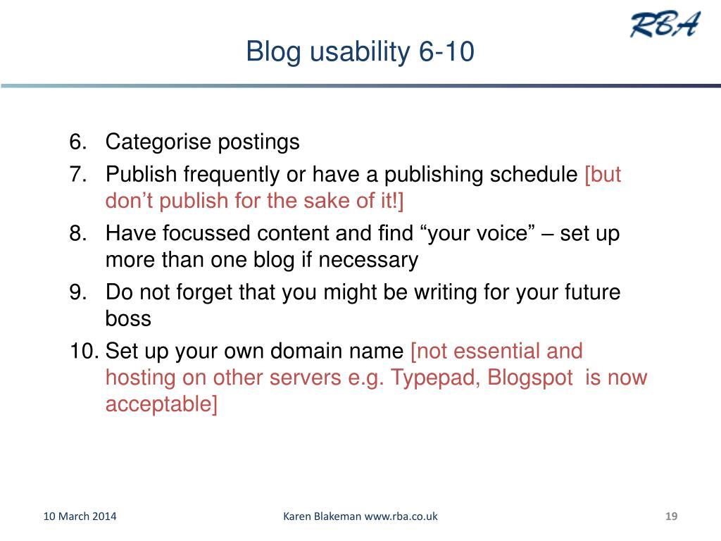 Blog usability 6-10