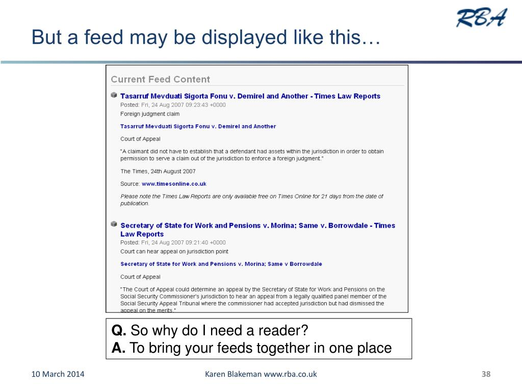 But a feed may be displayed like this…