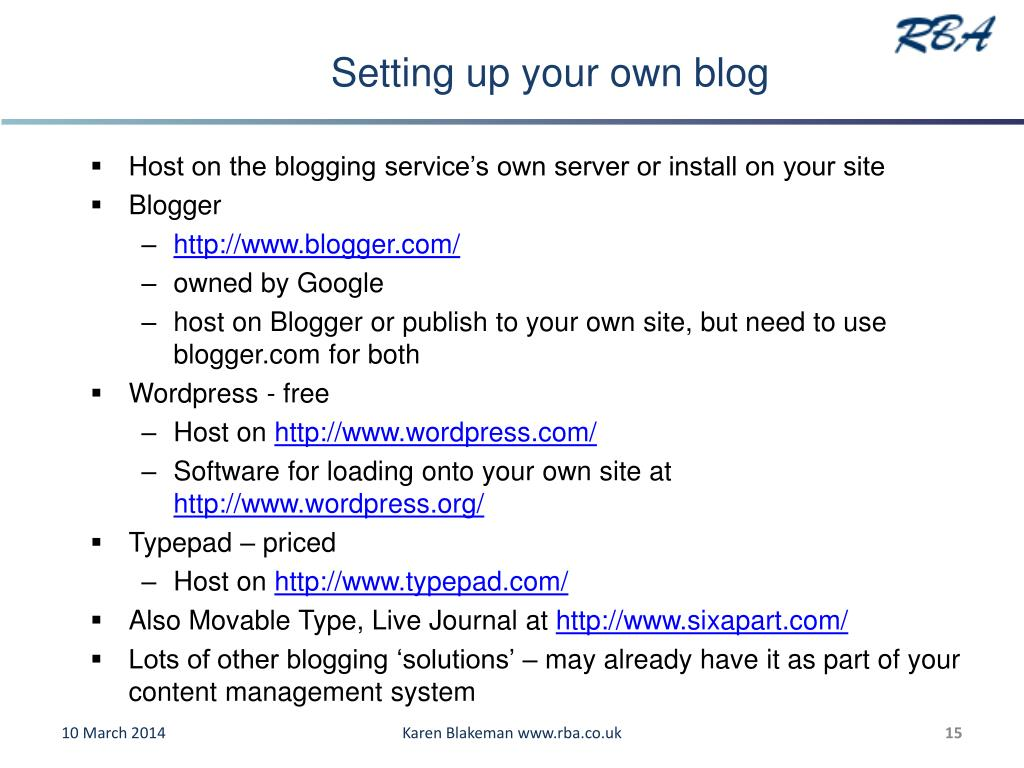 Setting up your own blog