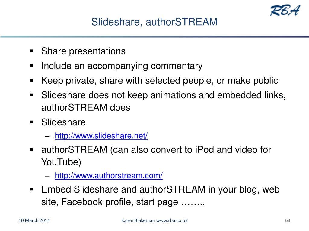 Slideshare, authorSTREAM