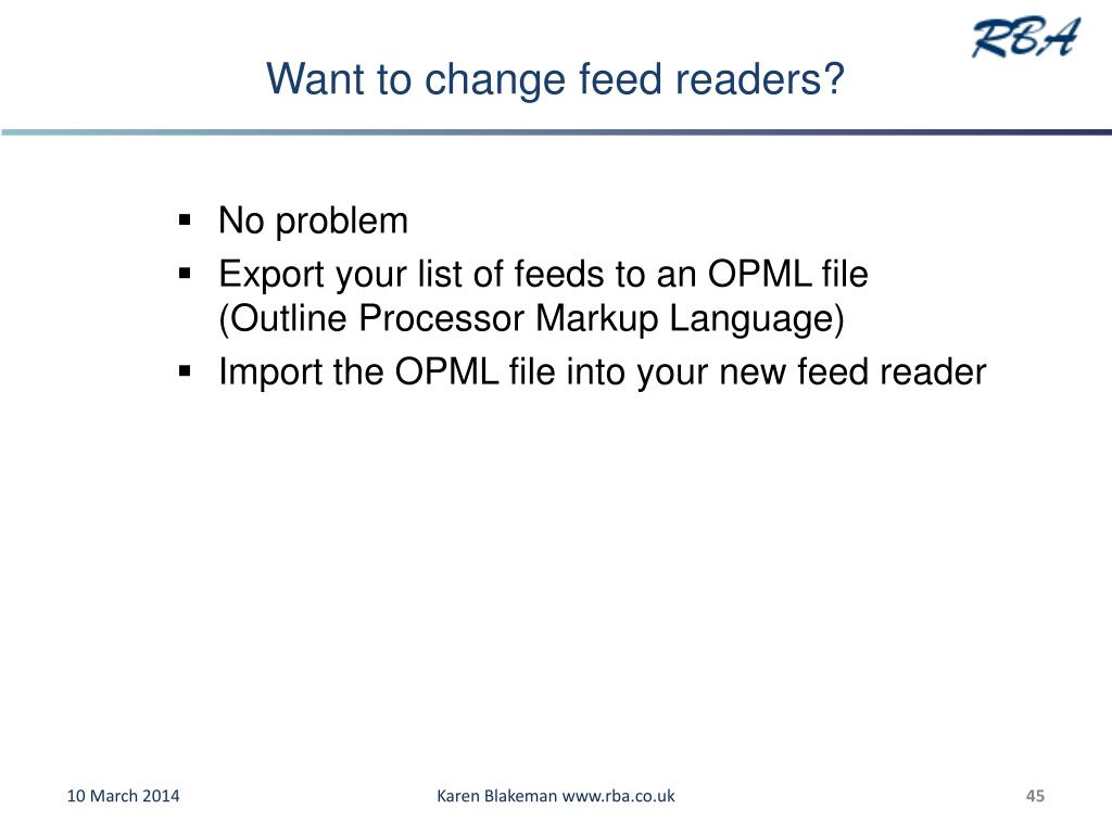 Want to change feed readers?