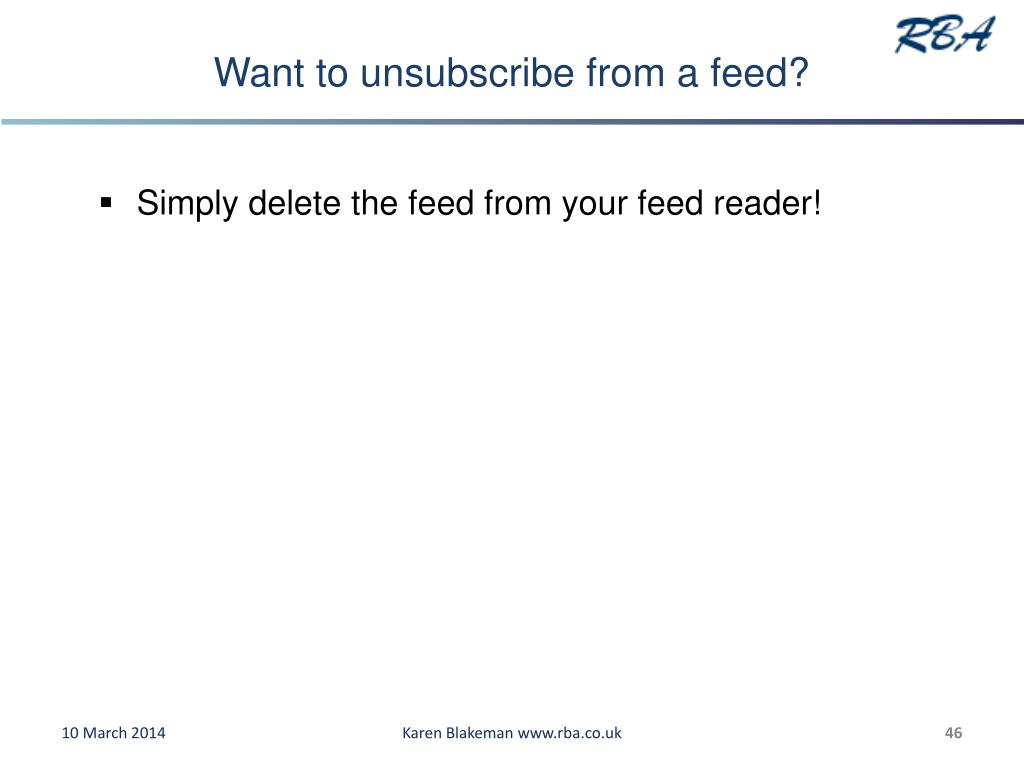 Want to unsubscribe from a feed?