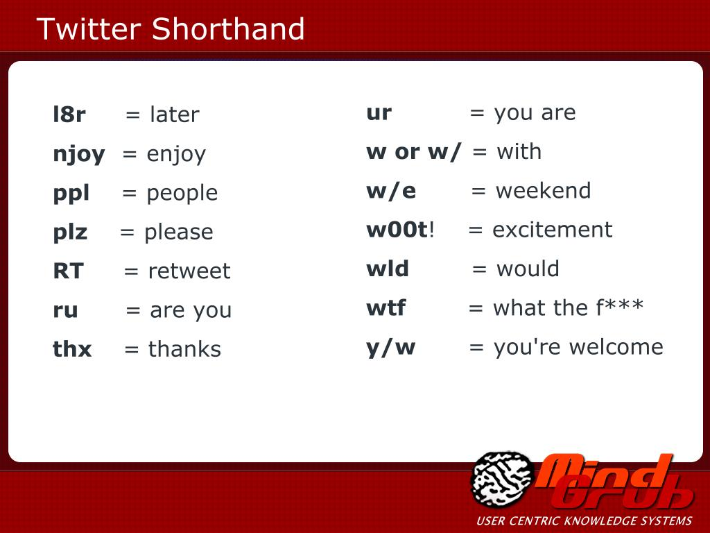 Twitter Shorthand
