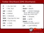 twitter shorthand sms shorthand