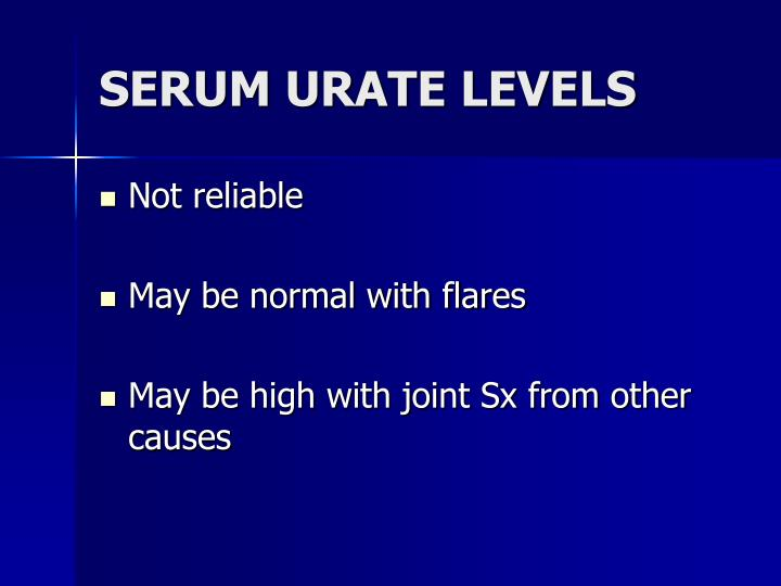 SERUM URATE LEVELS
