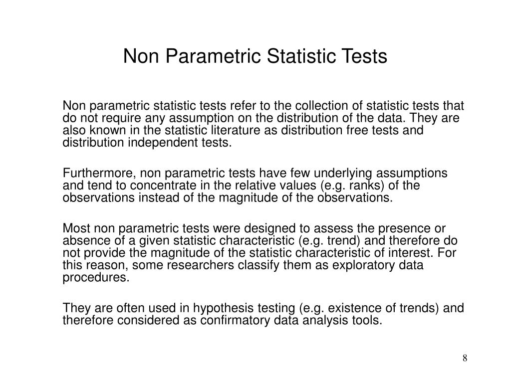 Non Parametric Statistic Tests