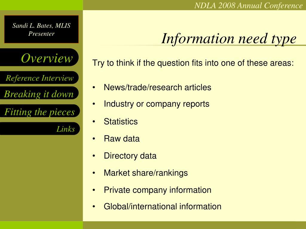 Information need type