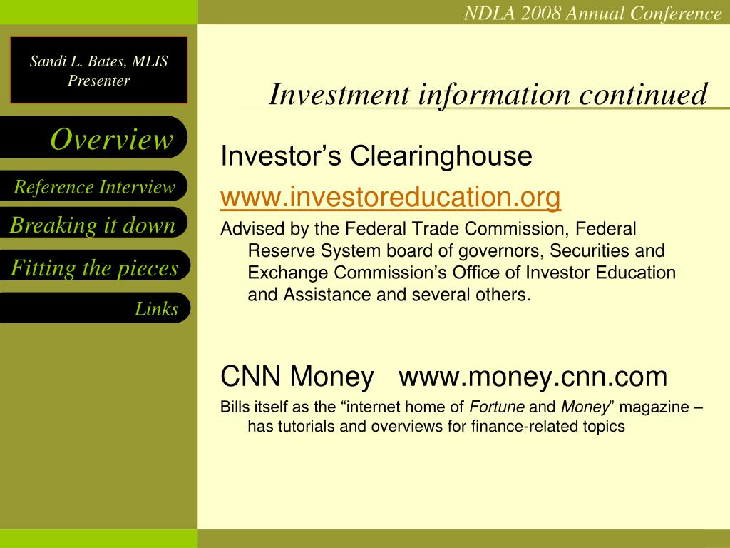 Investment information continued