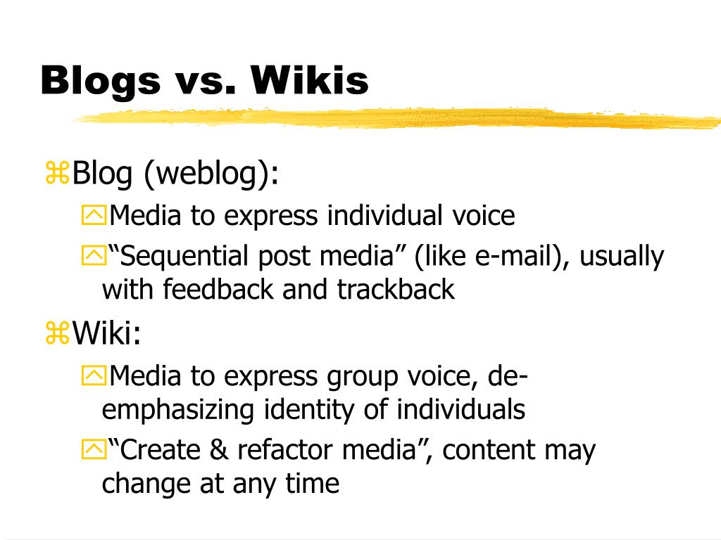 Blogs vs. Wikis