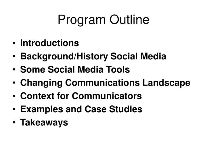 Program outline
